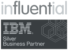 ibm cognos training represented by influential software and ibm partner logos